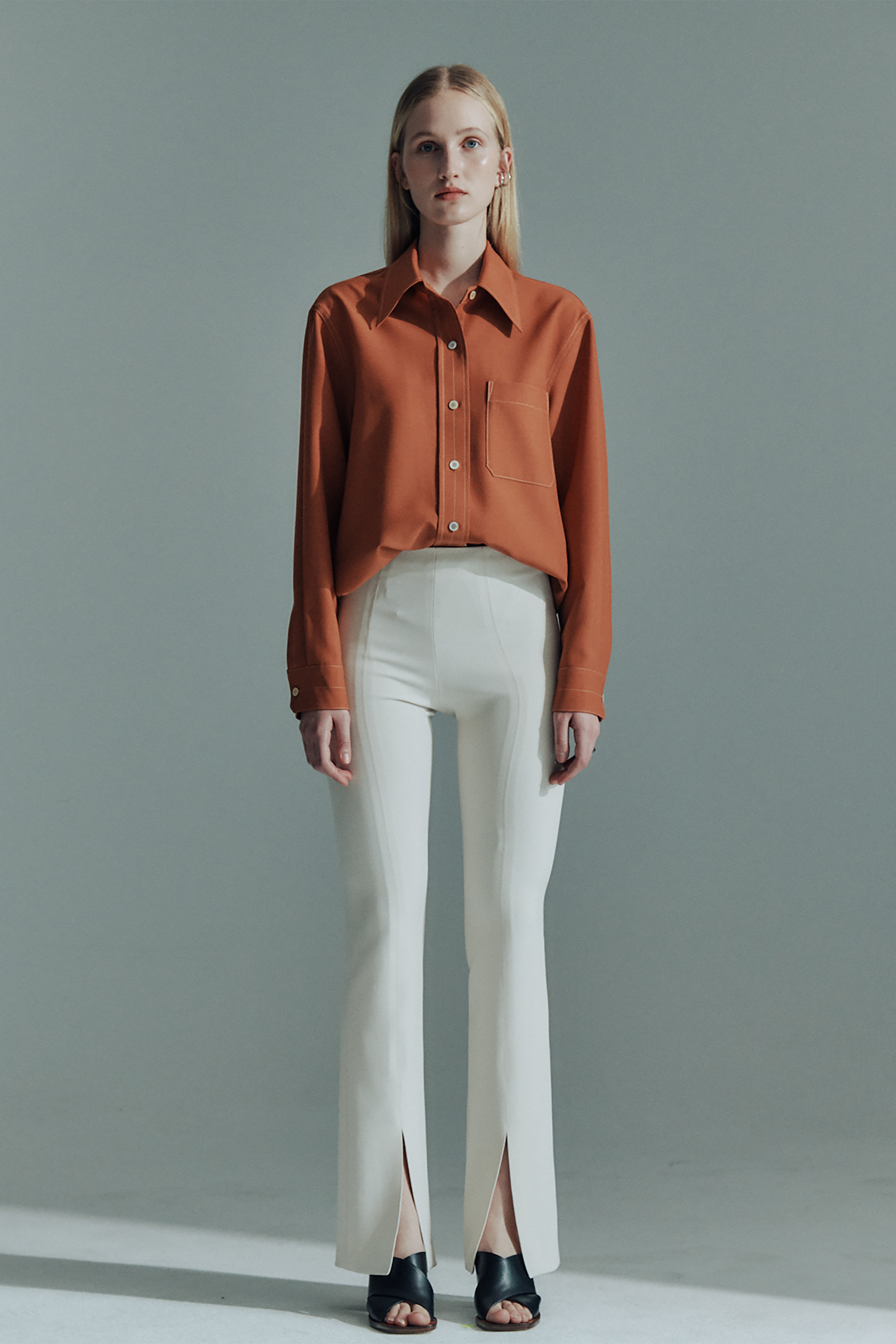WOOL CONTRAST STITCH SHIRTS_ORANGE